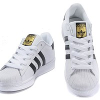 ADIDAS Superstar Women Casual Running Sport Shoes Sneakers White -black line golden logo H 8-5