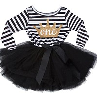 Christening Striped Crown Pattern One Two Year Birthday Pageant Wedding Baptism Gowns Dresses