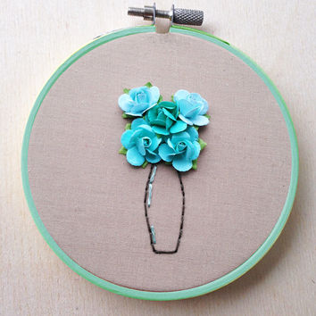 Paper Flower Hand Embroidery Hoop Floral Vase Bouquet Decor Flower Hand Embroidery Hoop Floral Wedding Home Decor Spring Tiffany Blue Decor