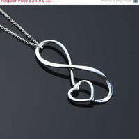 ON SALE Infinity Pendant  Heart Necklace  by TheJewelryGirlsPlace