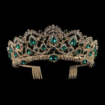 KMVEXO European Drop Green Red Crystal Tiaras Vintage Gold Rhinestone Pageant Crowns With Comb Baroque Wedding Hair Accessories