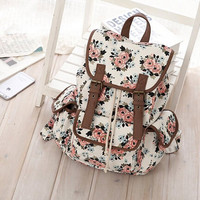Women Casual Floral Canvas School College Backpack Cute Bags Daypack