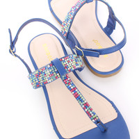 Blue Rhinestone T Strap Thong Sandals Faux Leather