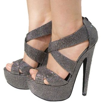Women's Qupid Pewter Glitter Strappy Platform High Heels Sandal Pump (Brenner13)