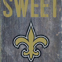 """New Orleans Saints Wood Sign - Home Sweet Home 6""""x12"""""""