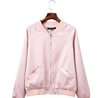Fashion 2016 Trending Fashion Women Zipper Solid Stand Collar  Sweater Cardigan Coat Jacket Outerwear _ 9534