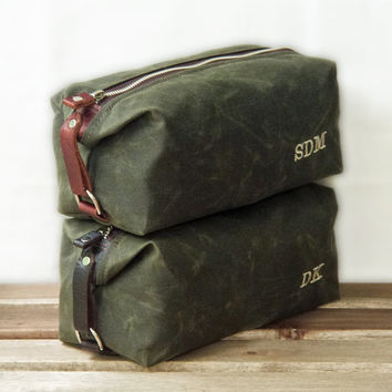 Handmade Men's Toiletry Travel Bag, Personalized Gift for Him, Shaving Case, Waxed Cotton Canvas and Leather, Shown in Olive, Military Green