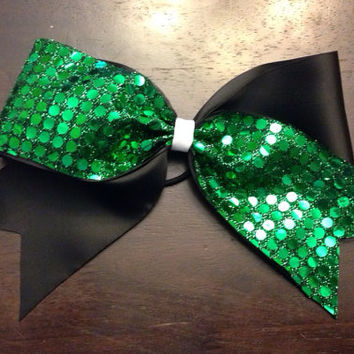 Green and Black Cheer Bow by OhSoCr8tive on Etsy