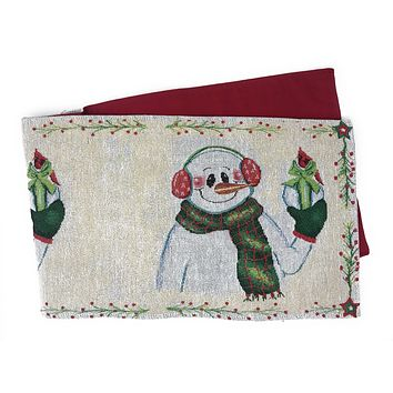 DaDa Bedding Magical Snowman Table Runner, Holiday White Tapestry (9733)