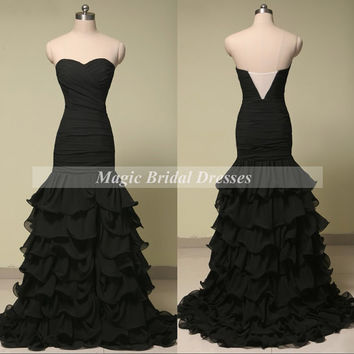Elegant Black Evening Dress 2015 Fashion Designer Women Formal Dresses with Train off the shoulder Chiffon Ruffles Mermaid Evening Gown