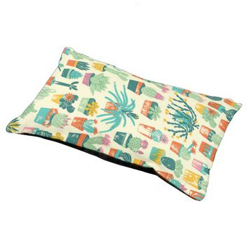 Colorful Cactus Flower Pattern Small Dog Bed