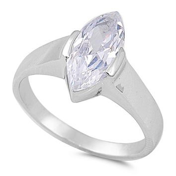 .925 Sterling Silver Solitaire Engagement Ladies Ring Size 6-10 Marquise Cut 2 carat