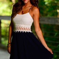 Lace Out Dress, Navy/White