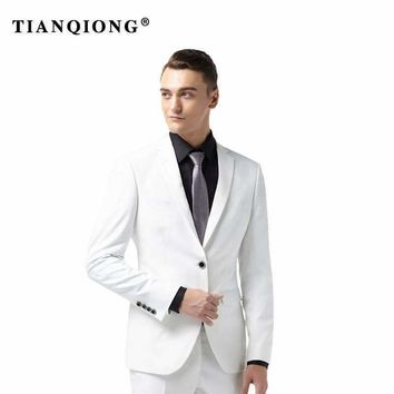 Tian Qiong Talior Made White Groom Tuxedos For Wedding 2 Pieces Men Prom Party Suits Best Man Suit Casual Blazer Terno