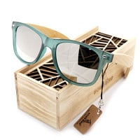 2016 Men Women Wood Sunglasses Summer Transparent Blue Frame Polarized Lens Sun Glasses  in Wooden Box Outdoor Oculos De Sol