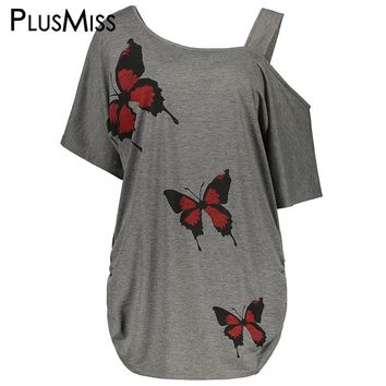 PlusMiss Plus Size 5XL Sexy One Shoulder Butterfly Print Blouse Shirt Women Summer Loose Top Big Size Clothing Oversized Blusas