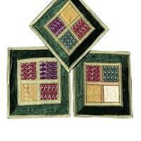 """Bohemian Decorative Cushion Cover Embroidered Patchwork Lace Throw Pillow Cases 16""""X16"""" (Green)"""