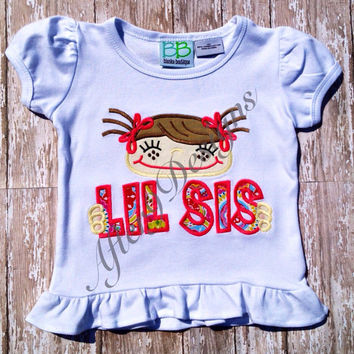 Little Lil Sister Sis girl applique by AfterNineDesigns on Etsy