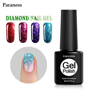 Paraness 2017 Newest Colorful Professional Diamond Glitter Nail Gel Polish Purple Color Nail Gel Varnish Soak off UV Gel Varnish
