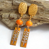 Cute Clip on Earrings, Flower Earrings for Women, Orange Earrings, Gold Drop Earrings, Handcrafted Jewelry, Perfect Gift for Her