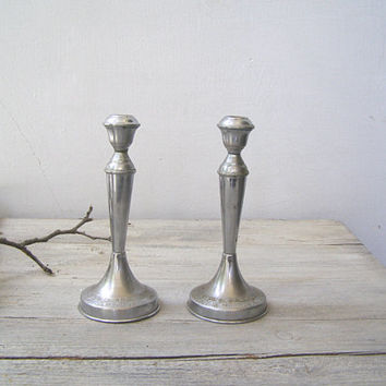 Art Deco Silver Metal Candlestick Holders, Mid century Candle holders, Traditional Judaica Sabbath Candlesticks, Jewish Wedding Gift Decor