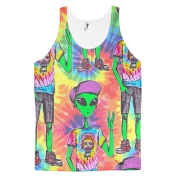 Hippy Alien Tie Dye Cool Extraterrestrial Hippie Kid Dye Sublimation All Over Print 3D Full Print Cotton Polyester Unisex Novelty Green Purple Yellow & Blue Tank Top