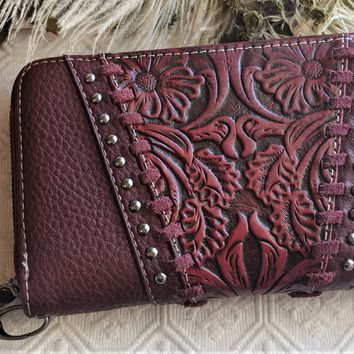 Montana West Trinity Ranch Red Tooled Leather Wallet Wristlet