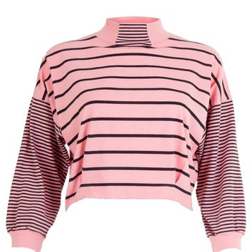 Stripes Mock Neck Crop Top