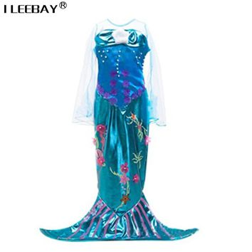 Kids Girls Show Dresses Children Baby Little Mermaid Fancy Clothes Princess Ariel Cosplay Halloween/Christmas Girl Party Costume