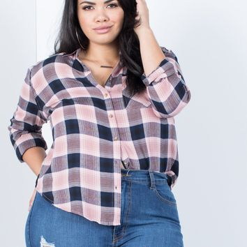 Plus Size Casual Time Plaid Top