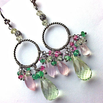 SALE - Pink Rose Quartz Green Amethyst Wire Wrapped Chandelier Earrings Oxidized Silver Tsavorite Colorful Earrings