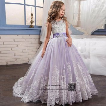 Girls Ball Gown Lace Pageant Dresses for Girls Glitz Holy Communion Dresses Bow Graduation Gowns Children Flower Girl Dress 2017