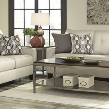 Ashley Furniture 71801-38-35 2 pc guillerno collection alabaster colored fabric upholstered sofa and love seat set with square arms