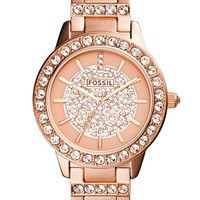 Women's Fossil 'Jesse' Crystal Accent Bracelet Watch, 34mm - Rose Gold