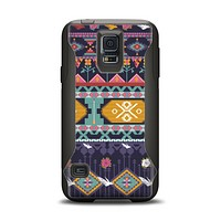 The Vector Purple and Colored Aztec pattern V4 Samsung Galaxy S5 Otterbox Commuter Case Skin Set
