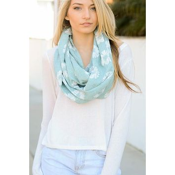 Sunflower Design Infinity Loop Scarf