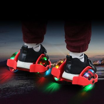 Children Heel Wheel Roller Skate Shoes Hot Wheels Sports Colorful LED Flashing Small Whirlwind Pulley For Kids 4 LED Light IA85