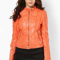 Classic Washed Faux Leather Jacket