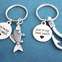 2 sets, You're my best catch, Fish, Hooks, Heart, Keyring, Combo, Fish, Fish hook, Keychain, Discount price for 2 sets, Gift, Key chain