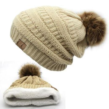 DCCKU62 2017 hot Double layer fur ball cap pom poms winter hat for women girls hat knitted beanies cap thick female cap