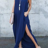 Navy Blue Irregular Pockets Double Slit Sleeveless Maxi Dress