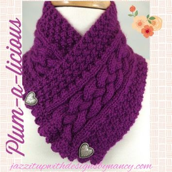 Neckwarmer Plum Passion Cable Metal Heart Button Handknit Caron Simply