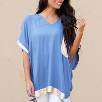 Sophie Sequin Tunic in Blue | Monday Dress Boutique