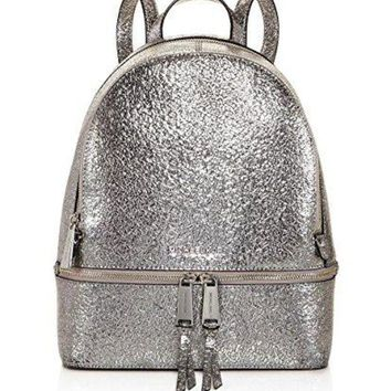 MICHAEL Michael Kors Rhea Zip Medium Backpack (Metallic Silver 2)