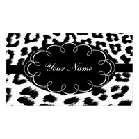 Black and White Leopard Print Business Card