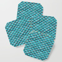 Teal blue and coral pink arapaima mermaid scales Coaster by savousepate