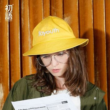 Toyouth Accessory Summer New Casual All Match Women Dome Bucket Hats Fashion Letter Printing Colorful Sun Hats