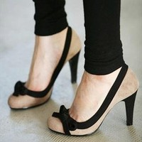 Colour Block Stiletto with Lovely Bowknot from southlanecherry