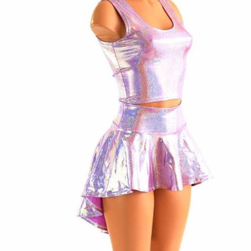 3PC Rave Outfit Lilac Purple Sparkly Jewel Holographic Crop Tank, Hi Lo Skirt & Cheeky Booty Shorts Festival EDM Dance Costume 152434