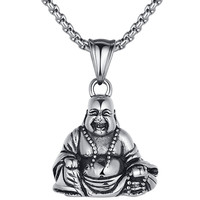 Stainless Steel Laughing Buddha Amulet Pendant Necklace
